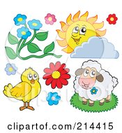 Royalty Free RF Clipart Illustration Of A Digital Collage Of Flowers A Sun Chick And Sheep