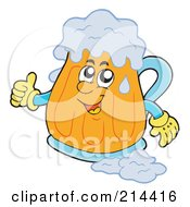Royalty Free RF Clipart Illustration Of A Happy Beer Mug Holding A Thumb Up by visekart