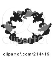 Royalty Free RF Clipart Illustration Of A Circle Of Black Ghouls And Tombstones