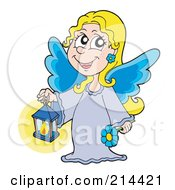Blond Angel Girl With Blue Wings Holding A Lantern