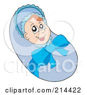 Royalty Free RF Clipart Illustration Of A Bundled Baby Boy