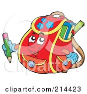 Red School Bag Character Holding A Pencil