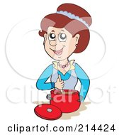 Royalty Free RF Clipart Illustration Of A Happy Woman Cooking by visekart