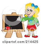 Royalty Free RF Clipart Illustration Of A Smart School Girl Writing On A Chalk Board