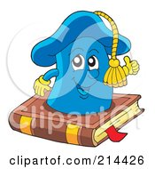 Royalty Free RF Clipart Illustration Of A Happy Graduation Cap On A Book by visekart