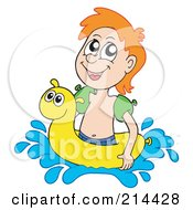 Royalty Free RF Clipart Illustration Of A Happy Summer Boy Swimming With An Inner Tube