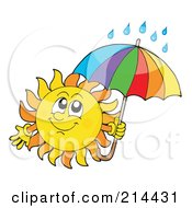 Royalty Free RF Clipart Illustration Of A Summer Sun With Rain Under An Umbrella by visekart