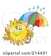 Royalty Free RF Clipart Illustration Of A Summer Sun With Rain Under An Umbrella