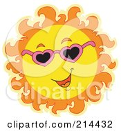 Royalty Free RF Clipart Illustration Of A Summer Sun Smiling And Sporting Shades 1