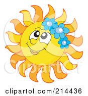 Royalty Free RF Clipart Illustration Of A Summer Sun Wearing Blue Flowers