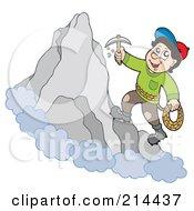 Rock Climber On A Mountain