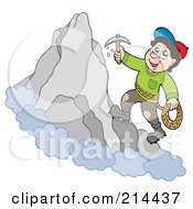 Royalty Free RF Clipart Illustration Of A Rock Climber On A Mountain by visekart