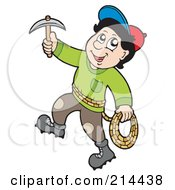 Royalty Free RF Clipart Illustration Of A Rock Climber With A Pick by visekart