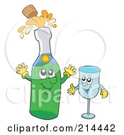 Happy Champagne Bottle And Glass Characters
