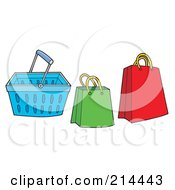 Royalty Free RF Clipart Illustration Of A Digital Collage Of Shopping Bags And Basket by visekart