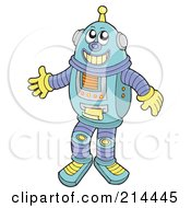 Royalty Free RF Clipart Illustration Of A Friendly Robot Smiling by visekart