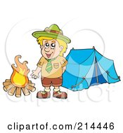 Royalty Free RF Clipart Illustration Of A Happy Scout Standing By A Camp Fire
