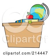Royalty Free RF Clipart Illustration Of A Globe Apple And Book On A Desk