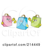 Royalty Free RF Clipart Illustration Of A Digital Collage Of Shopping Bags by visekart