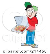 Royalty Free RF Clipart Illustration Of A Pizza Delivery Boy Holding An Open Box by visekart