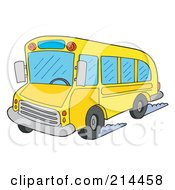 Royalty Free RF Clipart Illustration Of A School Bus Driving