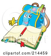 Royalty Free RF Clipart Illustration Of A Backpack Character By An Open Book by visekart