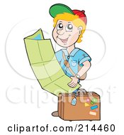 Royalty Free RF Clipart Illustration Of A Blond Boy Reading A Map by visekart
