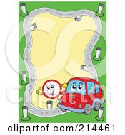 Royalty Free RF Clipart Illustration Of A Car And Sign Road Frame