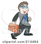 Royalty Free RF Clipart Illustration Of A Young Businessman Running With A Briefcase