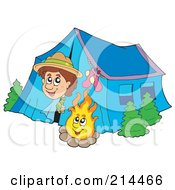 Happy Scout Peeking Out Of His Tent By A Camp Fire