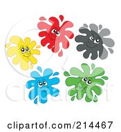 Royalty Free RF Clipart Illustration Of A Digital Collage Of Splatter Faces 1