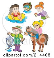 Royalty Free RF Clipart Illustration Of A Digital Collage Of Summer Recreation by visekart