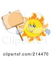 Royalty Free RF Clipart Illustration Of A Summer Sun Holding A Wooden Sign