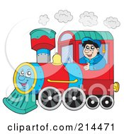 Royalty Free RF Clipart Illustration Of A Train Driver Operating A Happy Train