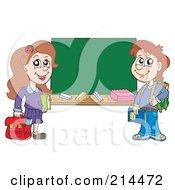 Royalty Free RF Clipart Illustration Of School Children Beside A Blank Chalk Board