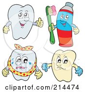 Royalty Free RF Clipart Illustration Of A Digital Collage Of Tooth Characters 2 by visekart