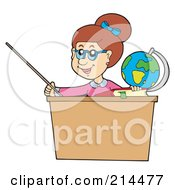 Royalty Free RF Clipart Illustration Of A Female Teacher Using A Pointer Stick At Her Desk
