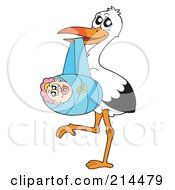 Royalty Free RF Clipart Illustration Of A Stork Delivering A Baby Girl