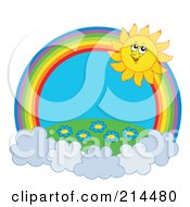 Royalty Free RF Clipart Illustration Of A Summer Sun And Floral Field Rainbow Circle