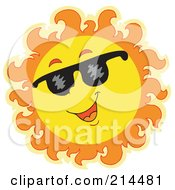 Royalty Free RF Clipart Illustration Of A Summer Sun Smiling And Sporting Shades 2