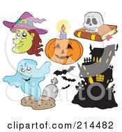 Royalty Free RF Clipart Illustration Of A Digital Collage Of Halloween Items 4 by visekart