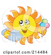 Royalty Free RF Clipart Illustration Of A Summer Sun With An Ice Cream Cone by visekart