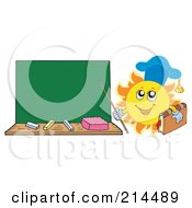 Royalty Free RF Clipart Illustration Of A Summer Sun Professor Holding A Pointer Stick To A Chalk Board