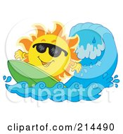 Royalty Free RF Clipart Illustration Of A Summer Sun Surfing A Wave
