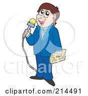Royalty Free RF Clipart Illustration Of A News Reporter Man