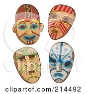 Royalty Free RF Clipart Illustration Of A Digital Collage Of Four Tribal Masks by visekart