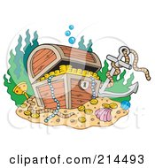 Royalty Free RF Clipart Illustration Of A Sunken Treasure Chest With An Anchor