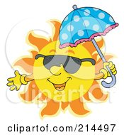 Royalty Free RF Clipart Illustration Of A Summer Sun Smiling And Sporting Shades 5