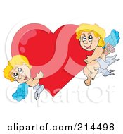 Royalty Free RF Clipart Illustration Of Two Cute Blond Cupids With A Big Heart