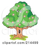Royalty Free RF Clipart Illustration Of A Happy Tree With Pink Flowers
